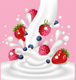 milk or yogurt splash with berry fruits vector image vector image