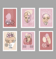 modern abstract faces poster set contemporary vector image vector image
