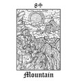 mountain tarot card from lenormand gothic vector image vector image