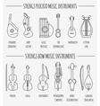 Musical instruments graphic template Strings vector image