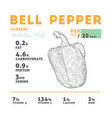 nutrition facts of raw bell pepper vector image vector image