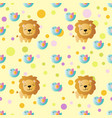 pattern with cartoon cute toy baby lion and bird vector image vector image