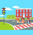 pupils go home after classes crossing pedestrian vector image vector image