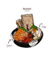 salmon and hotate sashimi serve in big bowl with vector image vector image