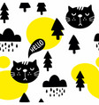 seamless pattern with cute cats in the autumn vector image