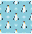 seamless winter pattern with penguins and vector image
