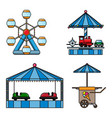 set icons amusement park isolated on white vector image vector image
