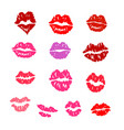 set lip prints a different form and color vector image
