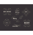 Set of Christmas Decorative Greeting Badges with vector image