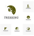 set of rock climber logo template outdoor vector image
