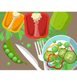 Still life with peppers fork knife and sliced vector image vector image