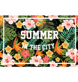 summer in city palm leaves and flowers vector image