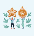 sweet gingerbread in couples hands vector image