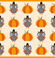 thanksgiving seamless pattern owls and pumpkins vector image vector image
