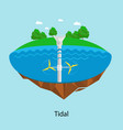 tidal turbines power plant and factory green aqua vector image vector image