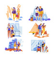 tourism traveling couples and families vacation or vector image vector image