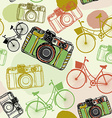 Vintage film camera and bicycles seamless pattern vector image