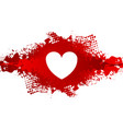 white heart on red grunge blot background vector image vector image
