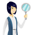 Young asian business woman with magnifier vector image
