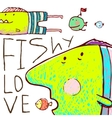 Lovely Cartoon Funny Fish Love Greeting Card vector image