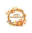 happy thanksgiving orange wreath vector image