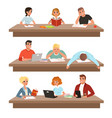 academic students in learning process set young vector image vector image