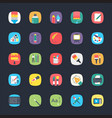 app flat icons set vector image