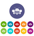 bee icons set color vector image