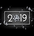 black 2019 happy new year card with silver bow and vector image