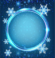 border template with snowflakes in blue vector image vector image