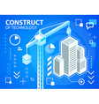 bright construct crine and buildings on blue vector image