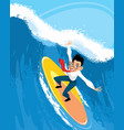 businessman on a surfboard vector image