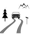 Car driving on a mountain road with tire tracks vector image vector image