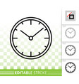 clock simple black line icon vector image