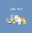 coffee time banner different types vector image vector image