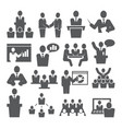 conference icons set on white background vector image vector image