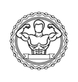 contour stamp with half body muscle man and label vector image vector image