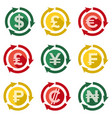 currency signs main types flat design vector image vector image
