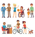 disabled young woman and man in in day routine vector image vector image