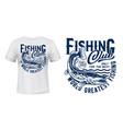 fishing t-shirt print mockup pike fish on waves vector image