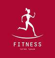 Fitness girl label - vector image