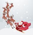 Flying Santa On Deers vector image vector image
