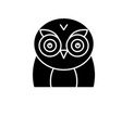 funny owl black icon sign on isolated vector image