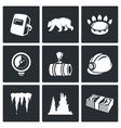 Gas transit Icons Set vector image