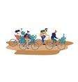 group smiling young friends riding bicycles vector image