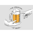 Hands with cup of beer engraving style vector image