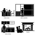 home house built-in furniture stick figure vector image