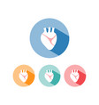 human heart icon with shade on colored circles vector image vector image
