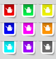 Kettle Icon sign Set of multicolored modern labels vector image vector image