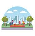 kids at park cartoons vector image vector image